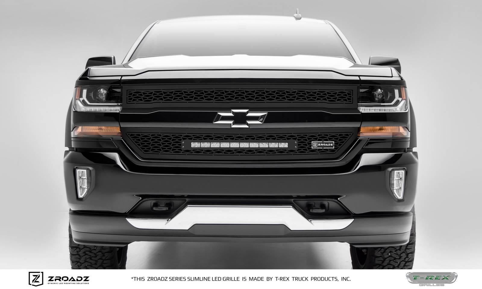 2016 2018 Silverado 1500 Zroadz Grille Black 2 Pc Insert Incl 1 20 Led Pn Z311281