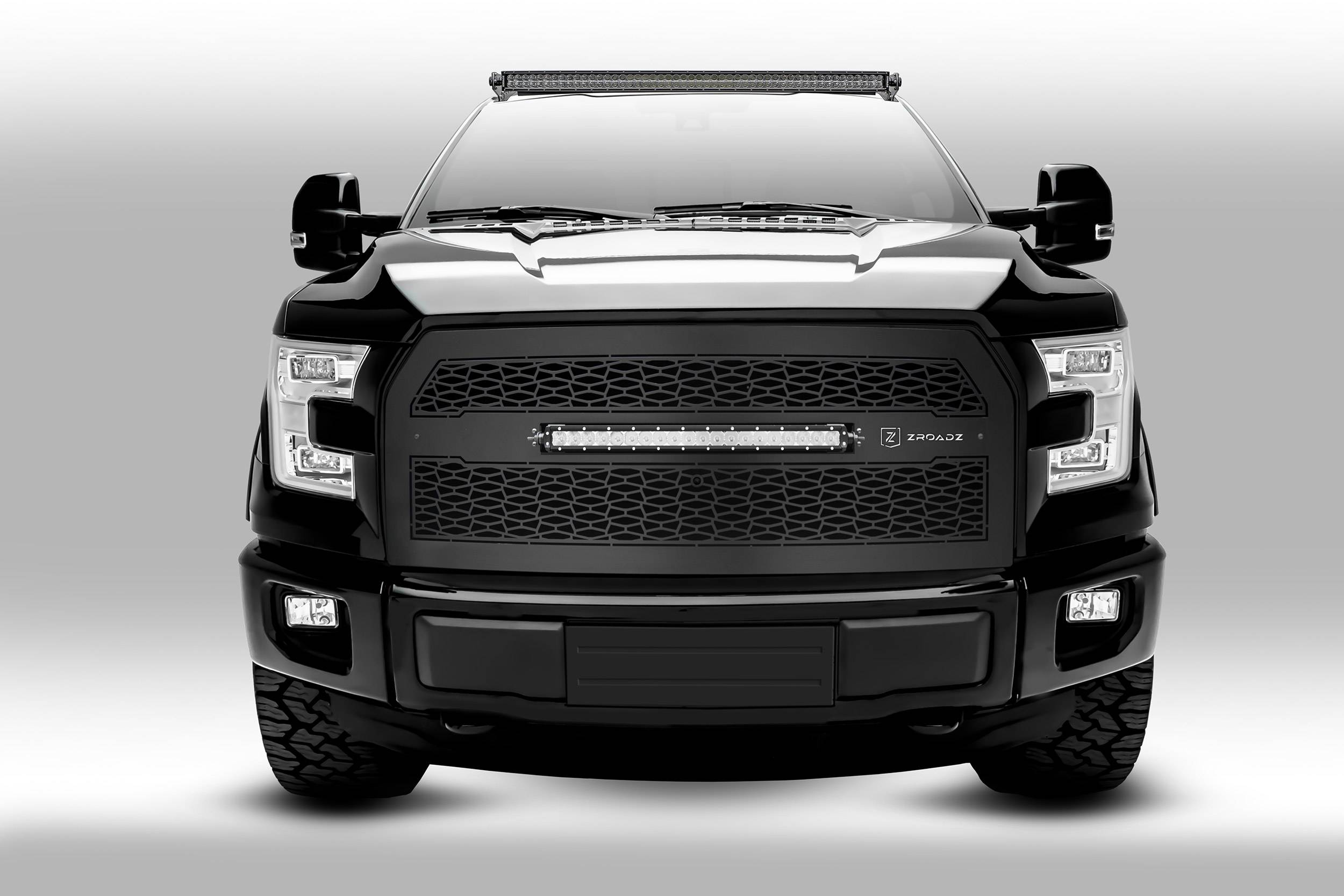 2015 Ford F150 Grill >> 2015 2019 Ford F 150 Front Roof Led Bracket To Mount 1 50 Inch Curved Led Light Bar Pn Z335731