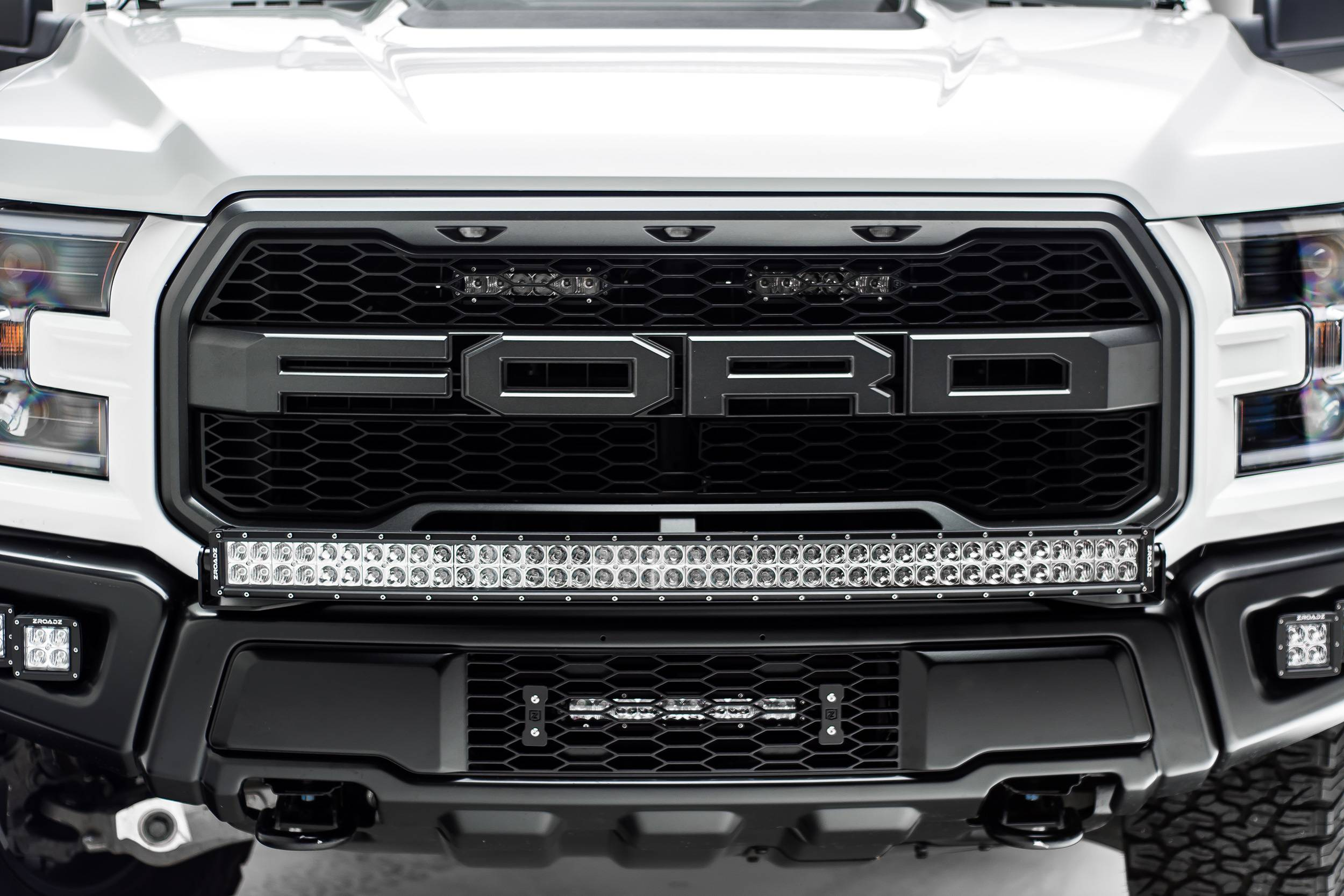 2017 2019 Ford F 150 Raptor Front Bumper Top Led Bracket To Mount 1 40 Inch Curved Led Light Bar Pn Z325662