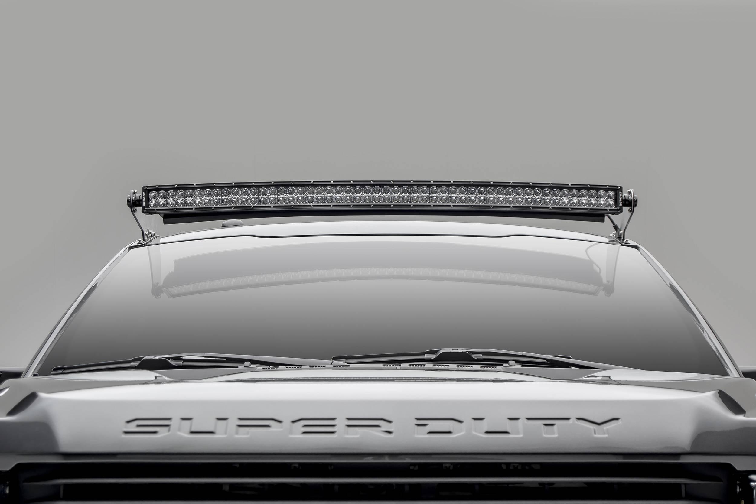 2017 2019 Ford Super Duty Front Roof Led Bracket To Mount 1 52 Inch Curved Led Light Bar Pn Z335471