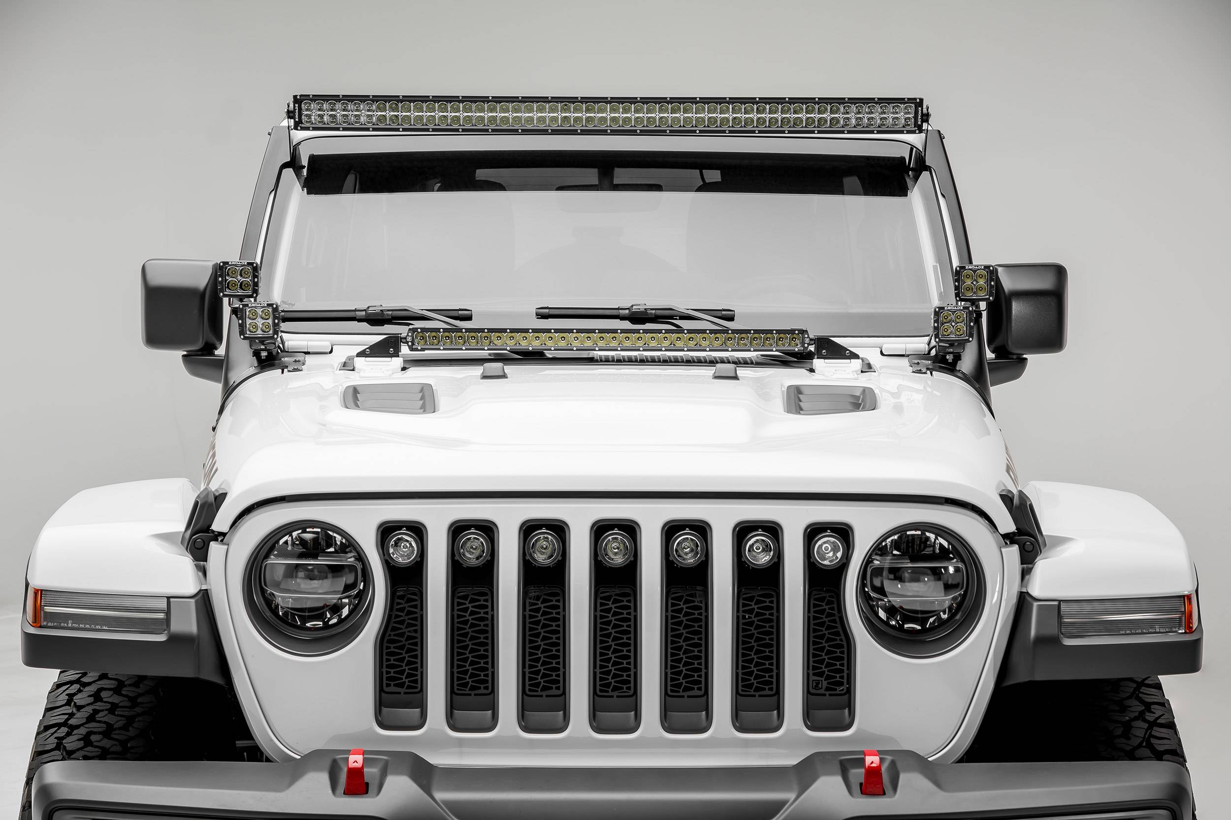 2018 2019 Jeep Jl Front Roof Led Bracket To Mount 1 50 Or 52 Inch Staight Led Light Bar And 4 3 Inch Led Pod Lights Pn Z374831 Bk4