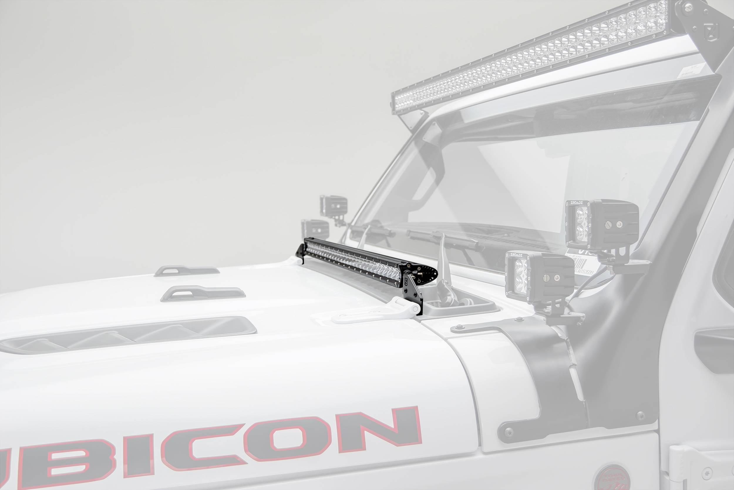Jeep JL, Gladiator Hood Cowl LED Bracket to mount (1) 30 Inch Singe Row Slim LED Light Bar - PN #Z36