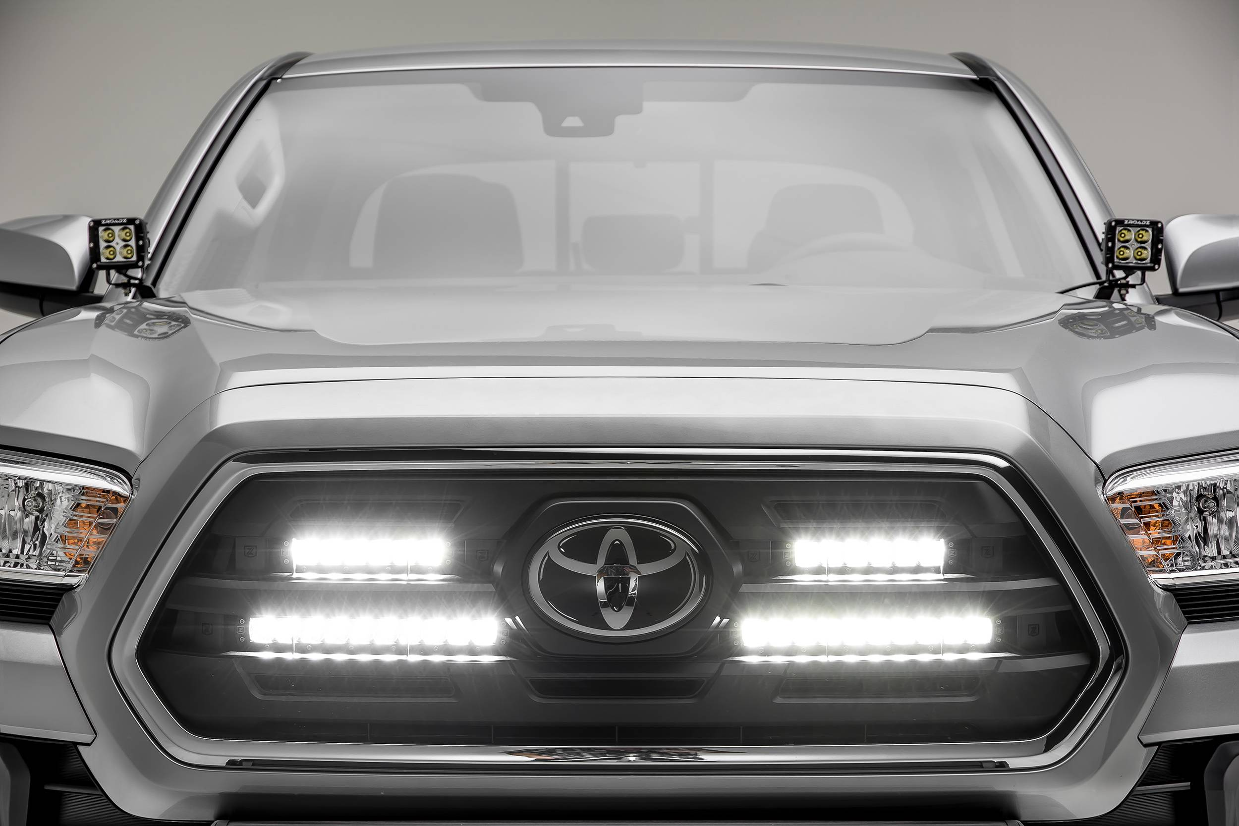 2018 2019 Toyota Tacoma Oem Grille Led Kit With 2 6 Inch And 2 10 Inch Led Straight Single Row Slim Light Bars Pn Z419711 Kit
