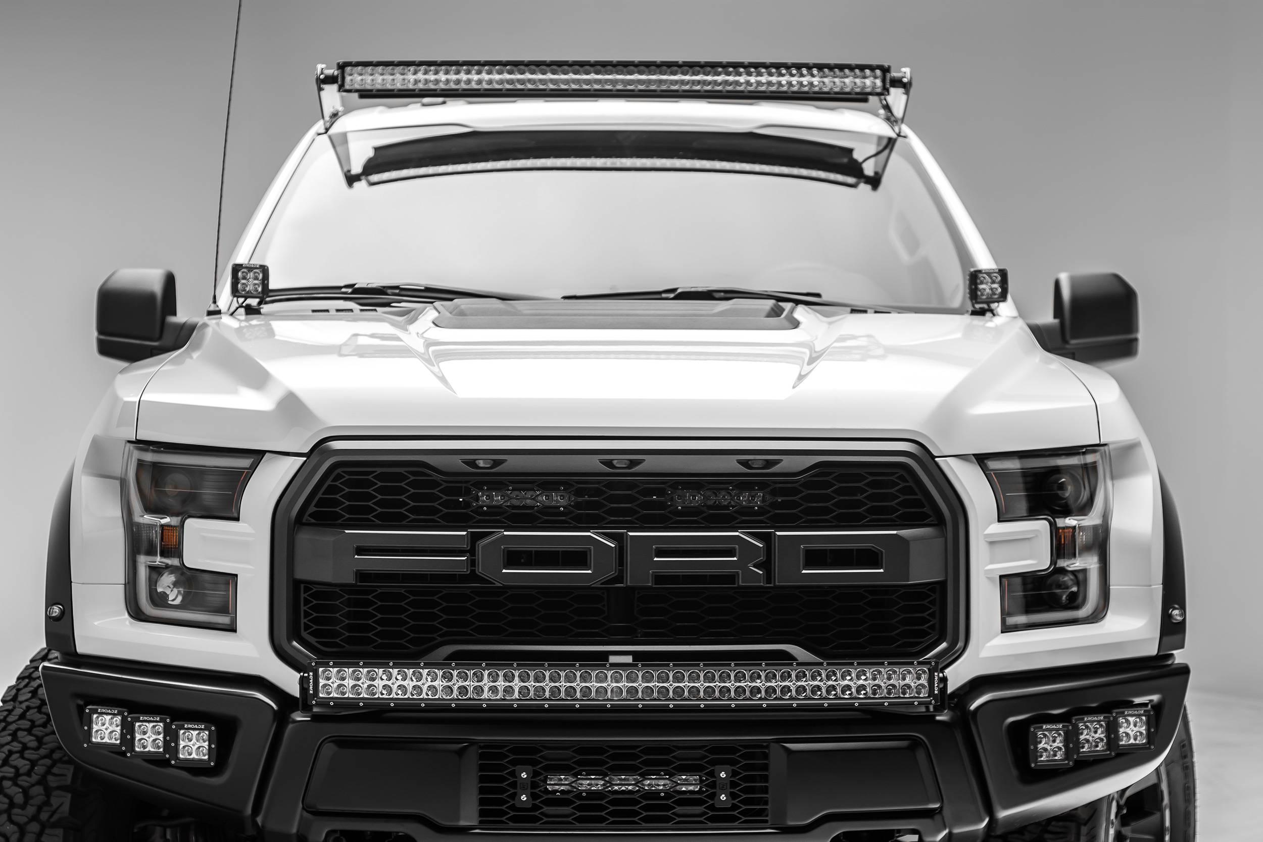 2015 2019 Ford F 150 Raptor Front Roof Led Bracket To Mount 1 52 Inch Curved Led Light Bar Pn Z335662