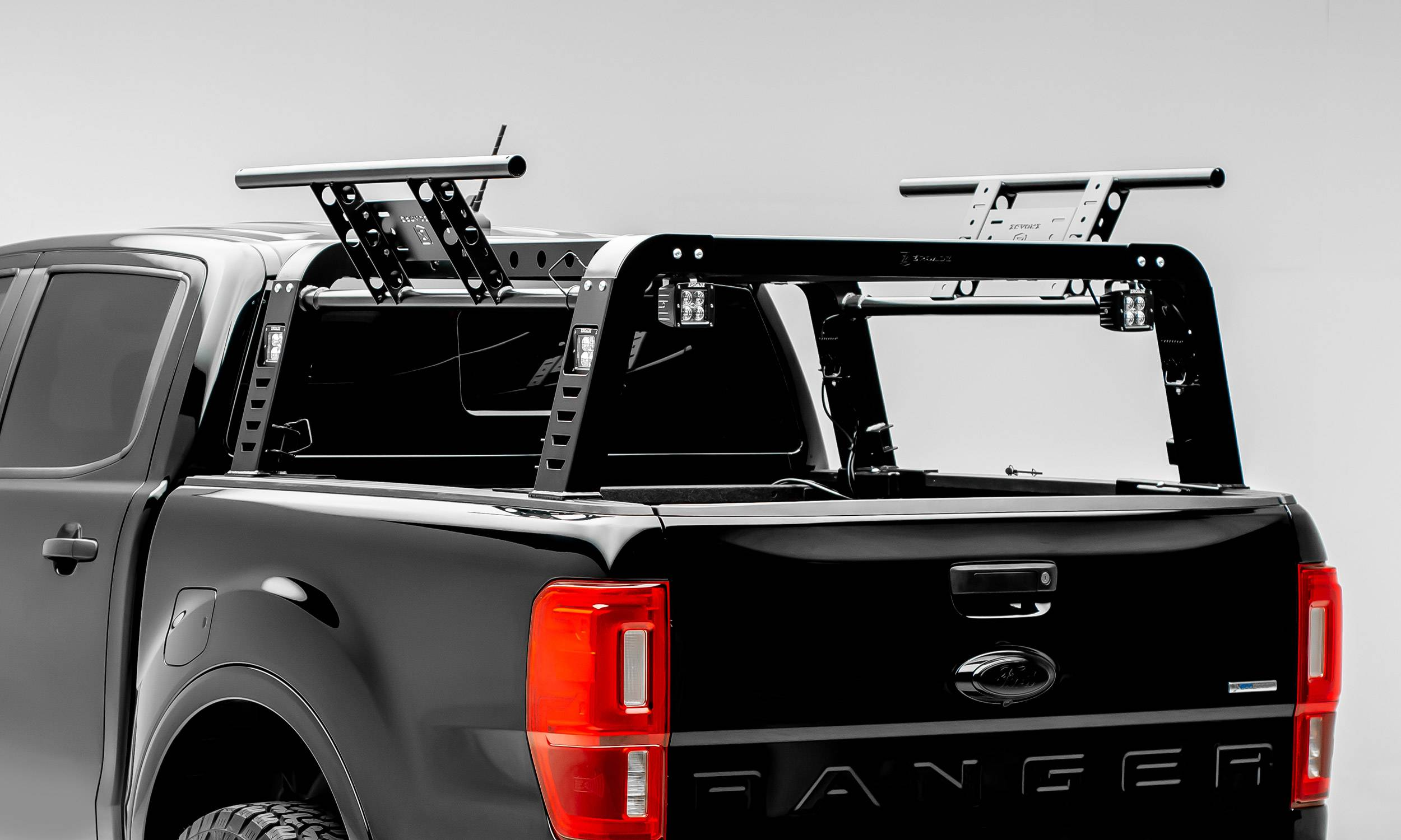 2019 2021 Ford Ranger Overland Access Rack With Side Gates With 4 3 Inch Zroadz Led Pod Lights Pn Z835101