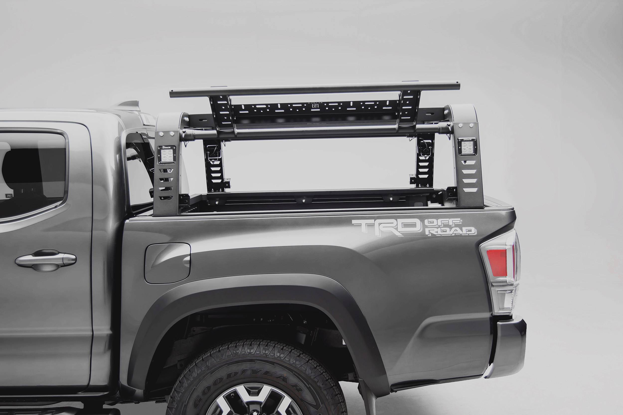 2016 2021 Toyota Tacoma Overland Access Rack With Side Gates With 4 3 Inch Zroadz Led Pod Lights Pn Z839101