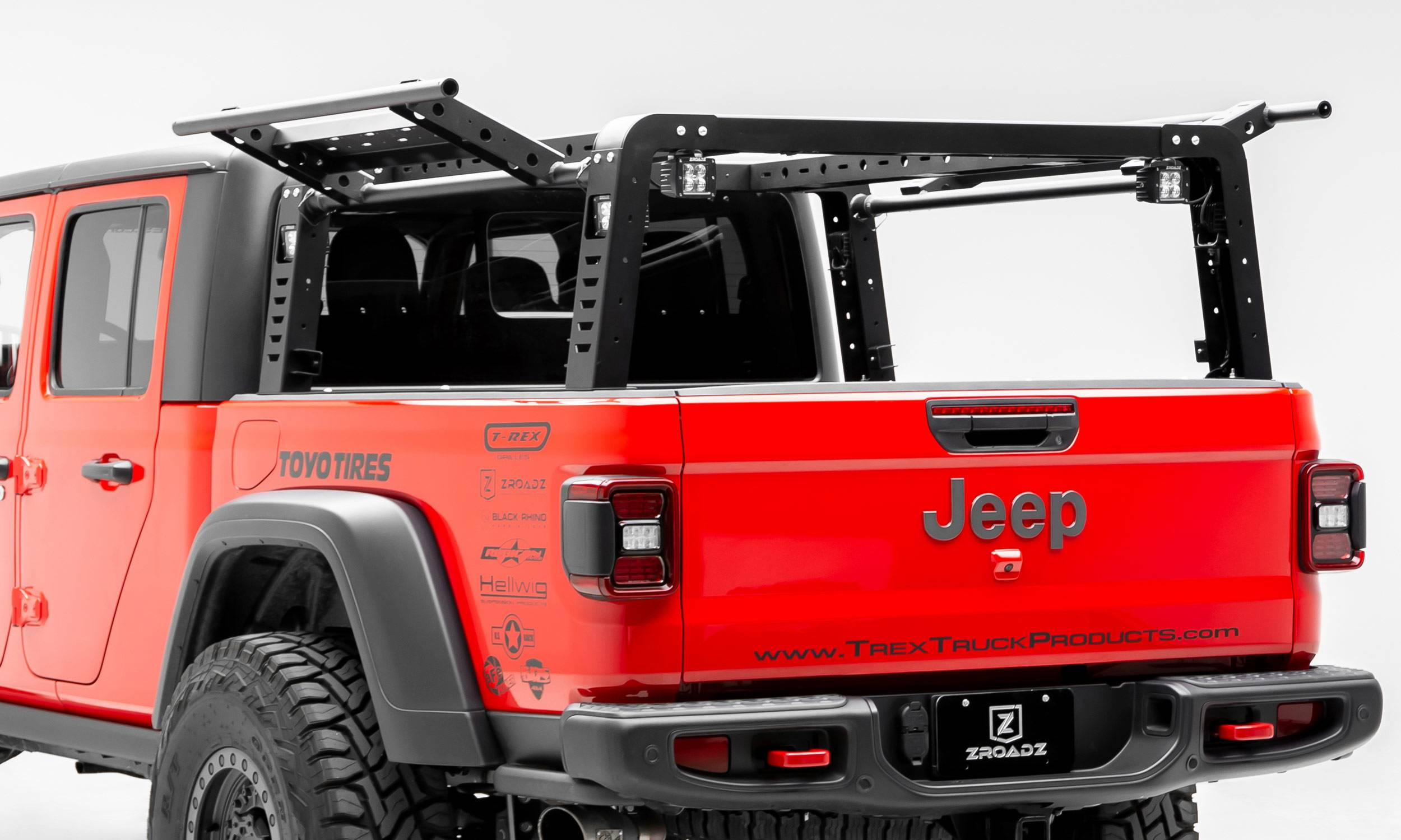 2019-2021 Jeep Gladiator Access Overland Rack With Two Lifting Side Gates, For use on Factory Trail