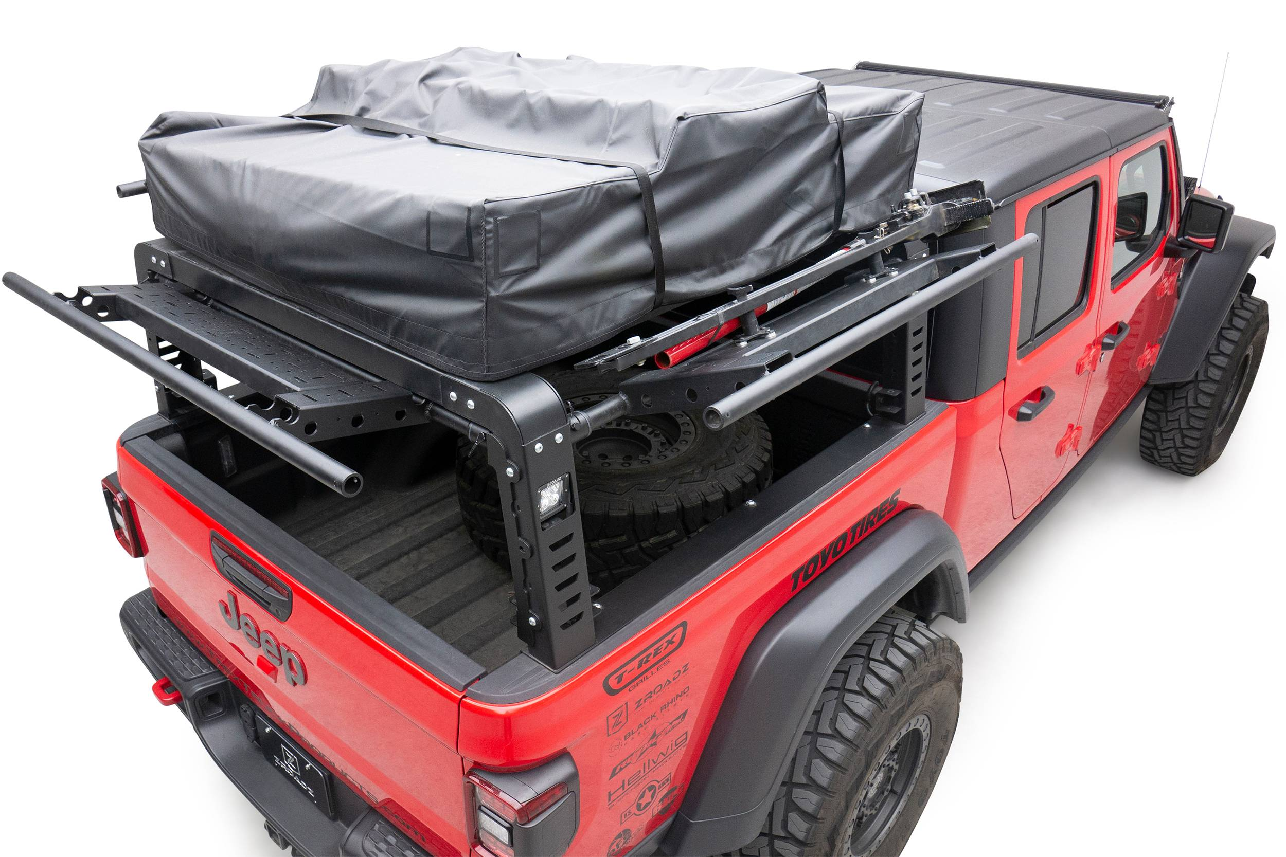 2019 2021 Jeep Gladiator Access Overland Rack With Three Lifting Side Gates Without Factory Trail Rail Cargo System Pn Z834201