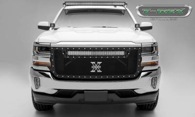 "T-REX GRILLES - 2016-2018 Silverado 1500 Torch Grille, Black, 1 Pc, Replacement, Chrome Studs, Incl. (1) 30"" LED - PN #6311281"