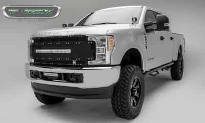 "T-REX GRILLES - 2017-2019 Super Duty Torch AL Grille, Black Mesh and Trim, 1 Pc, Replacement, Chrome Studs, Incl. (1) 30"" LED - PN #6315481"
