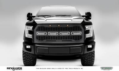 "T-REX GRILLES - 2015-2017 F-150 Revolver Grille, Black, 1 Pc, Replacement with (4) 6"" LEDs, Does Not Fit Vehicles with Camera - PN #6515731"