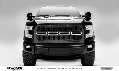 T-REX GRILLES - 2015-2017 F-150 Revolver Grille, Black, 1 Pc, Replacement, Chrome Studs, Fits Vehicles with Camera - PN #6515771