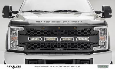 "T-REX GRILLES - 2017-2019 Super Duty Revolver Grille, Black, 1 Pc, Replacement, Chrome Studs with (4) 6"" LEDs, without Forward Facing Camera - PN #6515641"