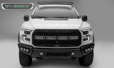 "T-REX GRILLES - 2017-2021 F-150 Raptor SVT Revolver Grille, Black, 1 Pc, Replacement, Chrome Studs with (4) 6"" LEDs, Fits Vehicles with Camera - PN #6515671"
