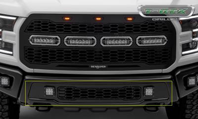 T-REX GRILLES - 2017-2021 F-150 Raptor SVT Revolver Bumper Grille, Black, 1 Pc, Replacement, Chrome Studs with (2) 3 Inch LED Cube Lights - PN #6525661