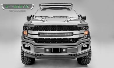 "T-REX GRILLES - 2018-2020 F-150 Torch AL Grille, Black Mesh, Brushed trim, 1 Pc, Replacement, Chrome Studs with (1) 30"" LED - PN #6315783"