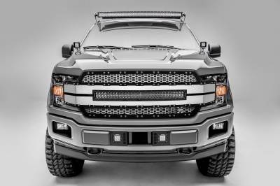 "T-REX GRILLES - 2018-2019 F-150 Torch AL Grille, Brushed Mesh and Trim, 1 Pc, Replacement, Chrome Studs with (1) 30"" LED, Fits Vehicles with Camera - PN #6315795"