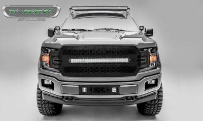 "T-REX GRILLES - 2018-2020 F-150 Stealth Laser Torch Grille, Black, 1 Pc, Replacement, Black Studs, Incl. (1) 30"" LED - PN #7315711-BR"