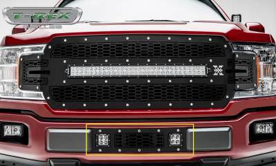 "T-REX GRILLES - 2018-2020 F-150 Limited, Lariat Laser Torch Bumper Grille, Black, 1 Pc, Overlay, Chrome Studs, Incl. (2) 3"" LED Cube Lights - PN #7325711"