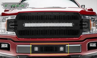 "T-REX GRILLES - 2018-2020 F-150 Limited, Lariat Stealth Laser Torch Bumper Grille, Black, 1 Pc, Overlay, Black Studs with (2) 3"" LED Cube Lights - PN #7325711-BR"