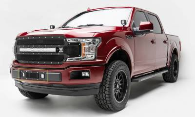 "2018-2019 F-150 Limited, Lariat Torch Bumper Grille, Black, 1 Pc, Replacement, Chrome Studs, Incl. (2) 3"" LED Cube Lights - PN #6325791"