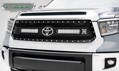 "T-REX GRILLES - 2018-2019 Tundra Torch Grille, Black, 1 Pc, Replacement, Chrome Studs, Incl. (2) 12"" LEDs - PN #6319661"