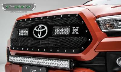 "T-REX GRILLES - 2018-2020 Tacoma Torch Grille, Black, 1 Pc, Insert, Chrome Studs, Incl. (2) 6"" LEDs - PN #6319511"