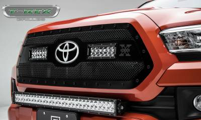 "T-REX GRILLES - 2018-2021 Tacoma Stealth Torch Grille, Black, 1 Pc, Insert, Black Studs with (2) 6"" LEDs, Does Not Fit Vehicles with Camera - PN #6319511-BR"