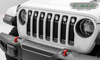 T-REX GRILLES - Jeep Gladiator, JL Torch Grille, Black, 1 Pc, Insert, Chrome Studs with (7) 2 Inch LED Round Lights, Does Not Fit Vehicles with Camera - PN #6314931