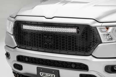 "T-REX GRILLES - 2019-2020 Ram 1500 Laramie, Lone Star, Big Horn, Tradesman Stealth Laser Torch Grille, Black, 1 Pc, Replacement, Black Studs, Incl. (1) 30"" LED - PN #7314651-BR"