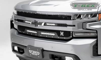 "T-REX GRILLES - 2019-2021 Silverado 1500 Torch Grille, Black, 1 Pc, Replacement, Chrome Studs with (2) 6"" and (2) 10"" LEDs - PN #6311261"