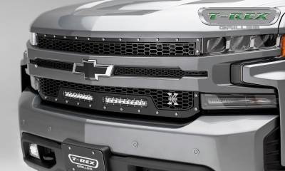 "T-REX GRILLES - 2019-2020 Silverado 1500 Laser Torch Grille, Black, 1 Pc, Replacement, Chrome Studs, Incl. (2) 10"" LEDs - PN #7311261"