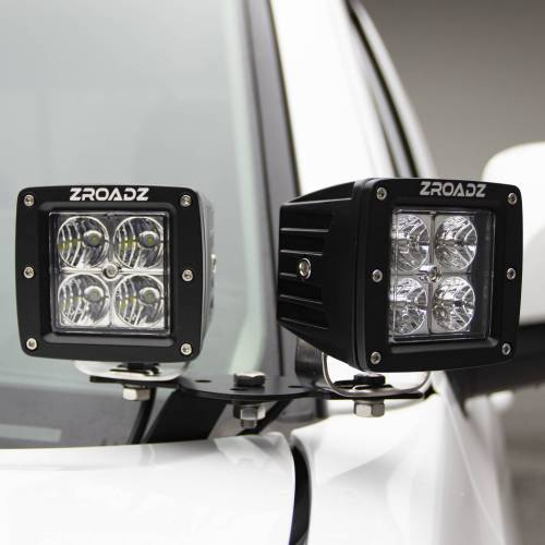 ZROADZ                                             - 2007-2013 Silverado, Sierra 1500 Hood Hinge LED Kit with (4) 3 Inch LED Pod Lights - PN #Z362051-KIT4
