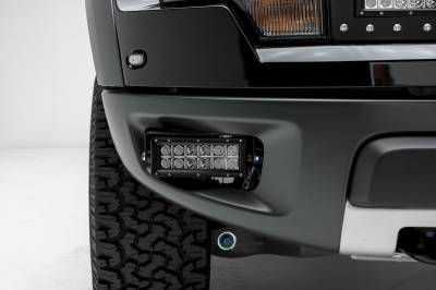 ZROADZ                                             - 2010-2014 Ford F-150 Raptor Front Bumper OEM Fog LED Kit with (2) 6 Inch LED Straight Double Row Light Bars - PN #Z325651-KIT