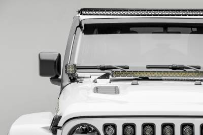 2018-2019 Jeep JL Front Roof LED Kit, Incl. (1) 50 Inch LED Straight Single Row Slim Light Bar and (2) 3 Inch LED Pod Lights - PN #Z374631-KIT2