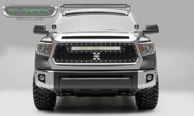 "T-REX GRILLES - 2014-2017 Tundra Laser Torch Grille, Black, 1 Pc, Replacement, Chrome Studs with (1) 30"" LED - PN #7319641"