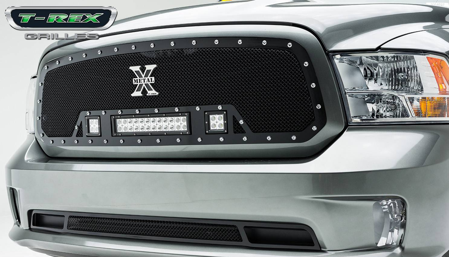 "2013-2018 Ram 1500 Torch Grille, Black, 1 Pc, Insert, Chrome Studs, Incl. (2) 3"" LED Cubes and (1) 12"" LEDs - PN #6314581"
