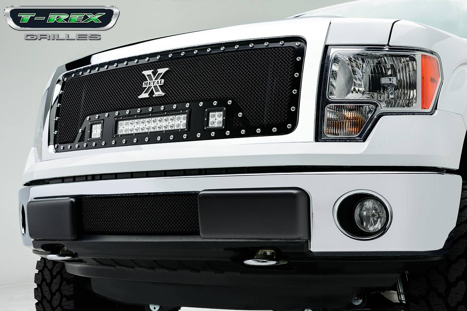 "T-REX GRILLES - 2013-2014 F-150 Torch Grille, Black, 1 Pc, Insert, Chrome Studs with (2) 3"" LED Cubes and (1) 12"" LEDs - PN #6315721"