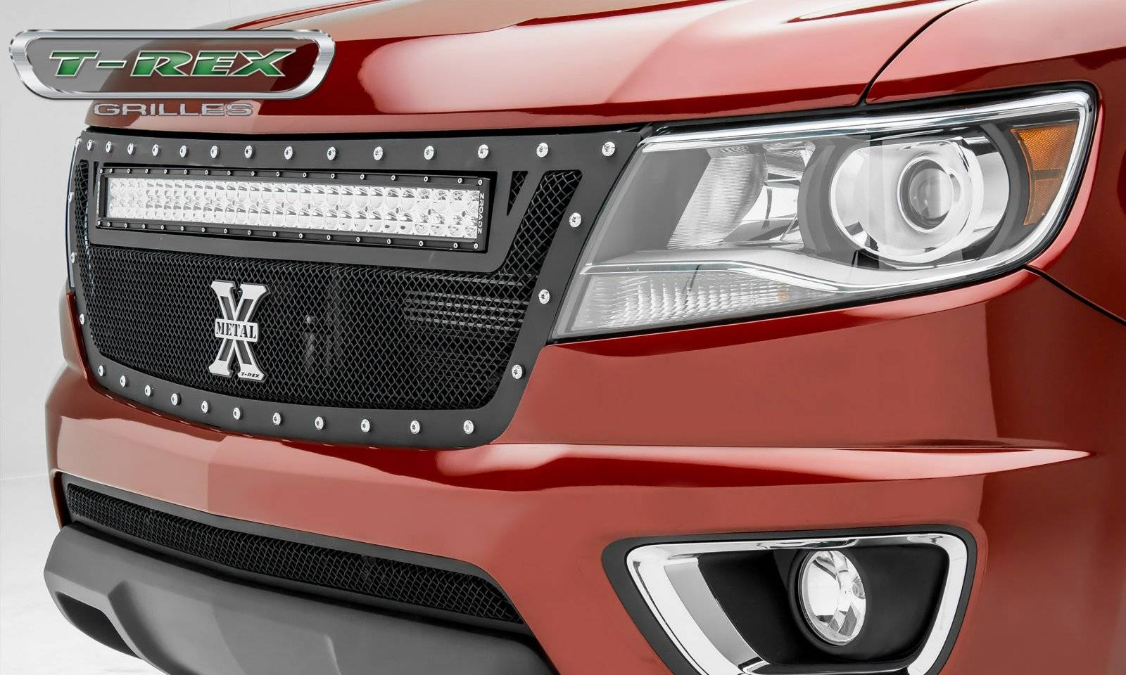 "T-REX GRILLES - 2015-2020 Colorado Torch Grille, Black, 1 Pc, Replacement, Chrome Studs with (1) 30"" LED - PN #6312671"
