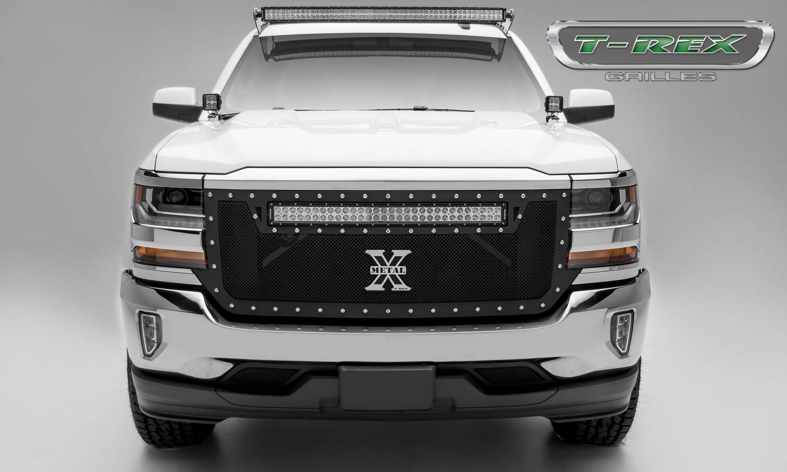 "T-REX GRILLES - 2016-2018 Silverado 1500 Torch Grille, Black, 1 Pc, Replacement, Chrome Studs with (1) 30"" LED - PN #6311281"