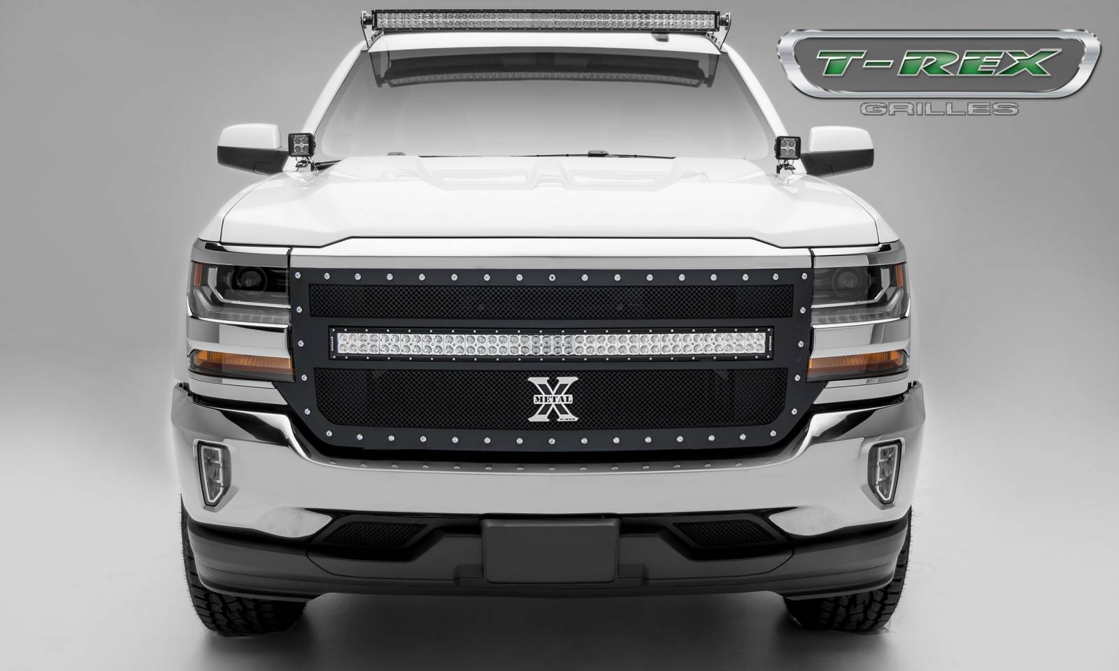 "T-REX GRILLES - 2016-2018 Silverado 1500 Torch Grille, Black, 1 Pc, Replacement, Chrome Studs, Incl. (1) 40"" LED - PN #6311271"