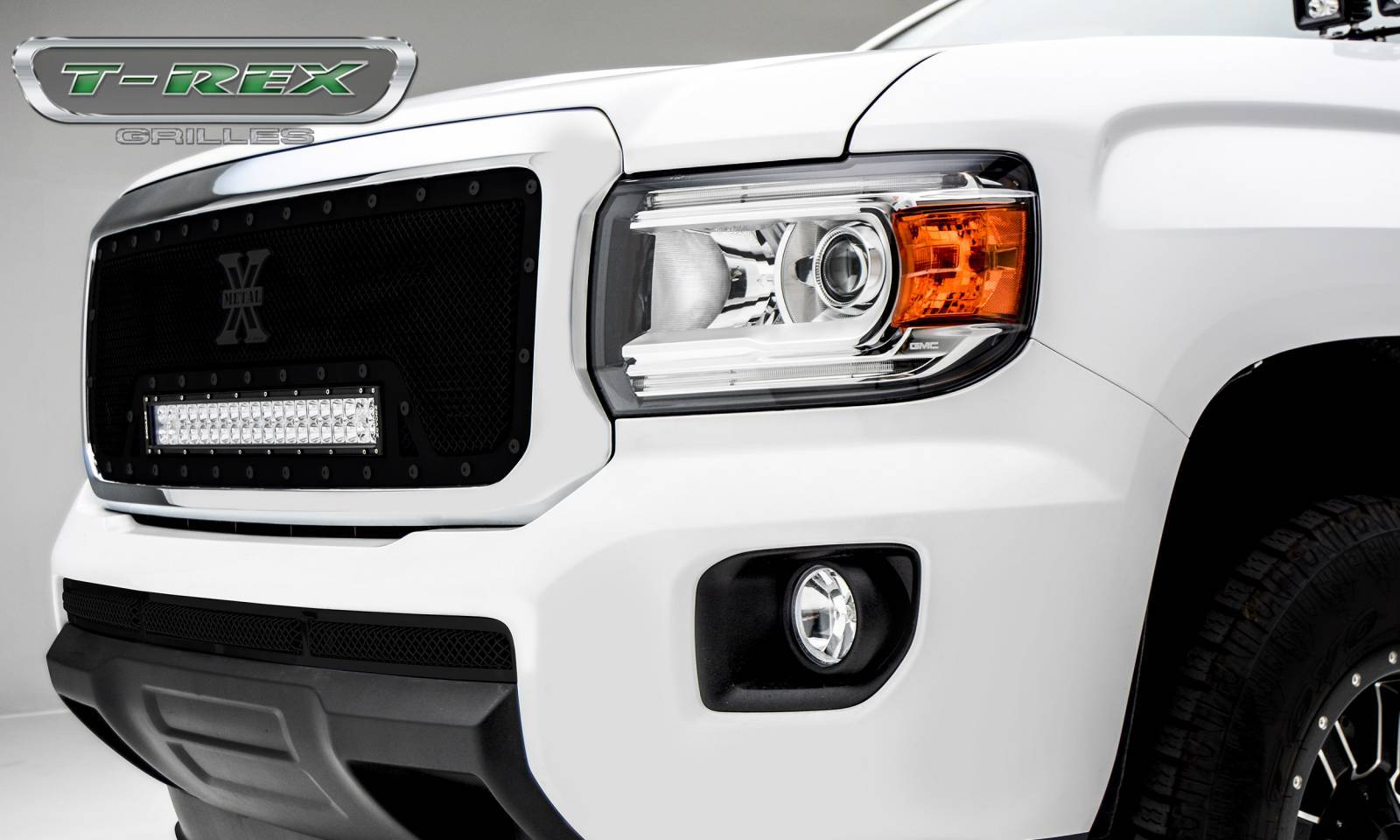 "T-REX GRILLES - 2015-2020 GMC Canyon Stealth Torch Grille, Black, 1 Pc, Insert, Black Studs, Incl. (1) 20"" LED - PN #6313711-BR"