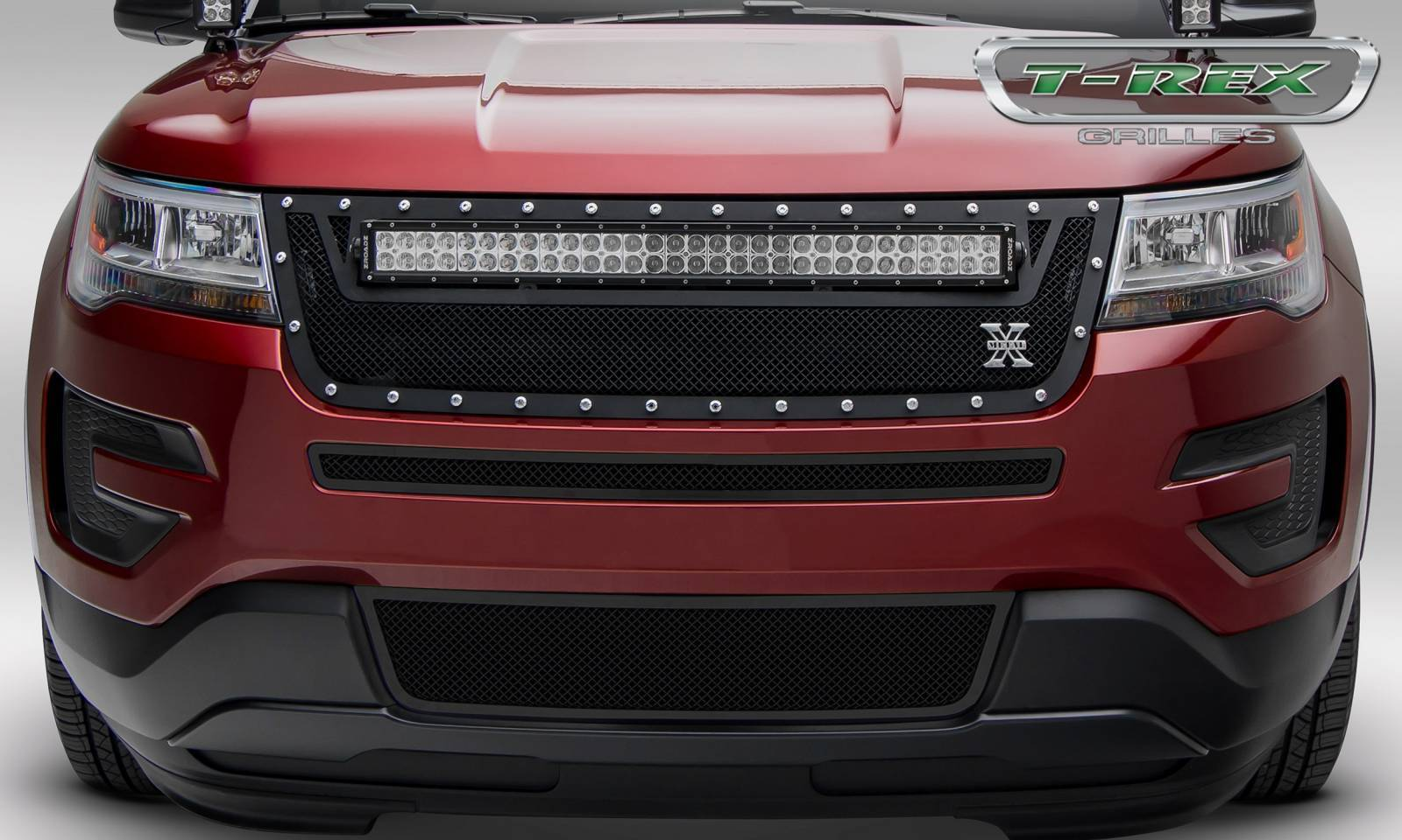 "T-REX GRILLES - 2016-2017 Explorer Torch Grille, Black, 1 Pc, Replacement, Chrome Studs, Incl. (1) 30"" LED - PN #6316641"