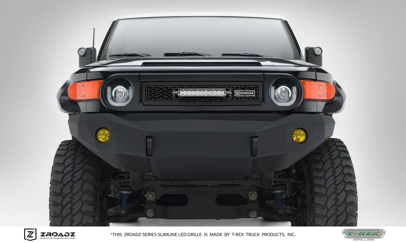 "T-REX GRILLES - 2007-2014 Toyota FJ Cruiser ZROADZ Grille, Black, 1 Pc, Insert, Incl. (1) 10"" LED - PN #Z319321"