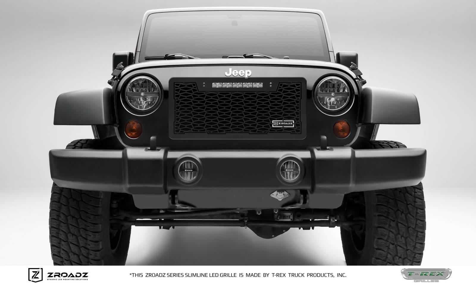 "T-REX GRILLES - 2007-2018 Jeep JK, JKU ZROADZ Grille, Black, 1 Pc, Insert with (1) 10"" LED - PN #Z314831-10T"