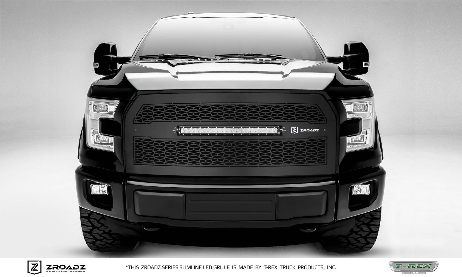 "T-REX GRILLES - 2015-2017 F-150 ZROADZ Grille, Black, 1 Pc, Replacement with (1) 20"" LED, Fits Vehicles with Camera - PN #Z315741"
