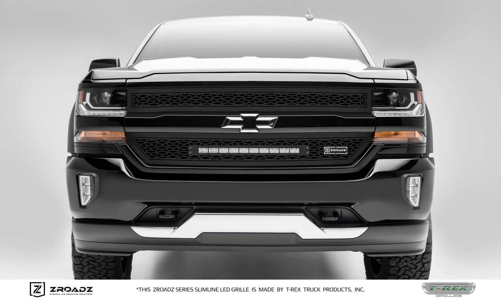 "T-REX GRILLES - 2016-2018 Silverado 1500 ZROADZ Grille, Black, 2 Pc, Insert with (1) 20"" LED - PN #Z311281"