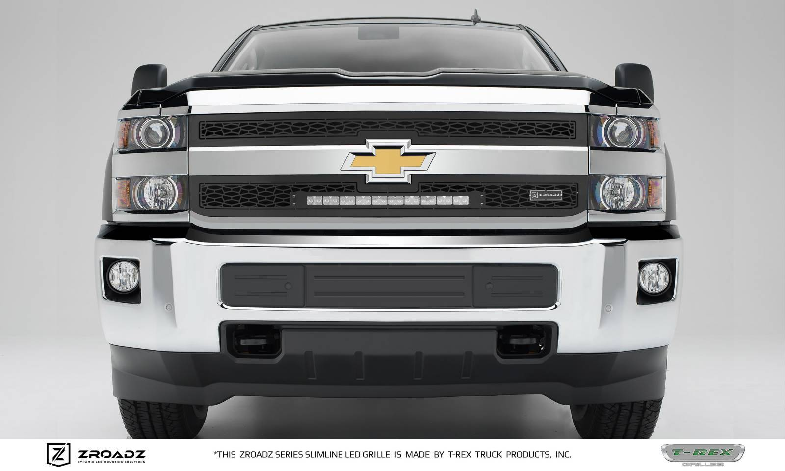 "T-REX GRILLES - 2015-2019 Silverado 2500, 15-17 3500 ZROADZ Grille, Black, 2 Pc, Insert with (1) 20"" LED - PN #Z311221"