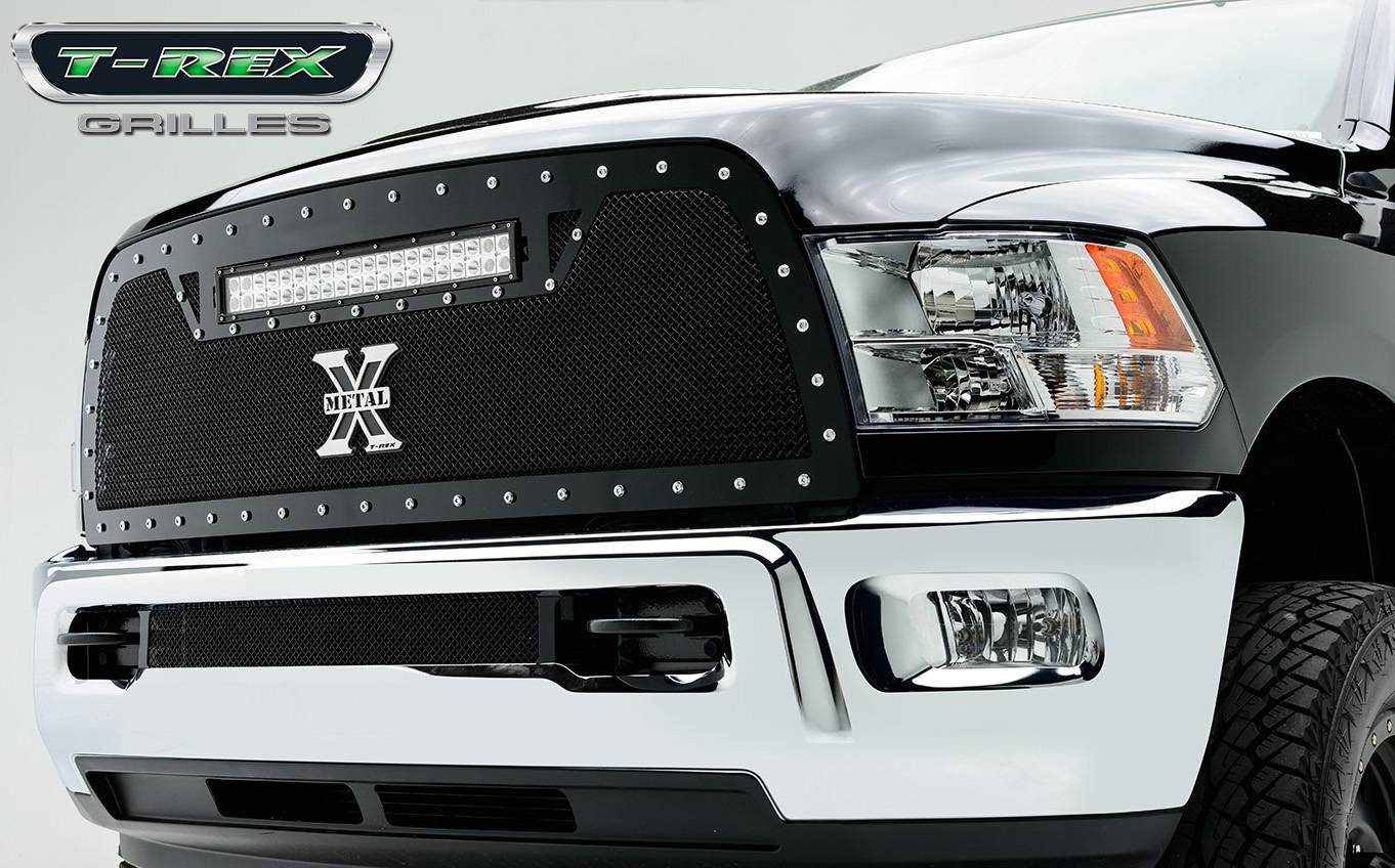 "T-REX GRILLES - 2010-2012 Ram 2500, 3500 Torch Grille, Black, 1 Pc, Replacement, Chrome Studs with (1) 20"" LED - PN #6314531"