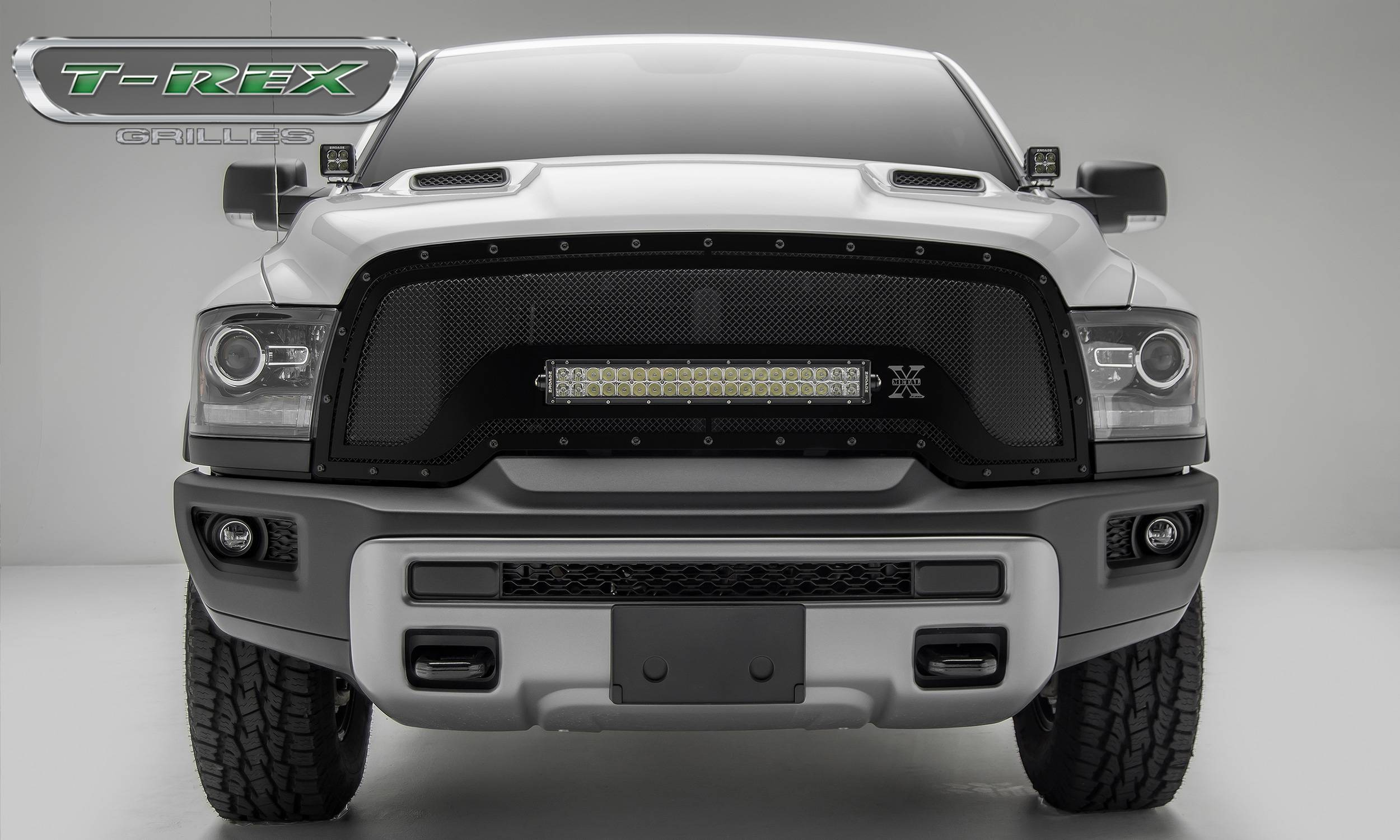 "T-REX GRILLES - 2015-2018 Ram 1500 Rebel Stealth Torch Grille, Black, 1 Pc, Replacement, Black Studs, Incl. (1) 20"" LED - PN #6314641-BR"